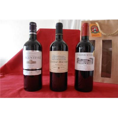 COFFRET 3 BORDEAUX 75cl MOULIS 2008/GRAVES 2009/MEDOC 2010